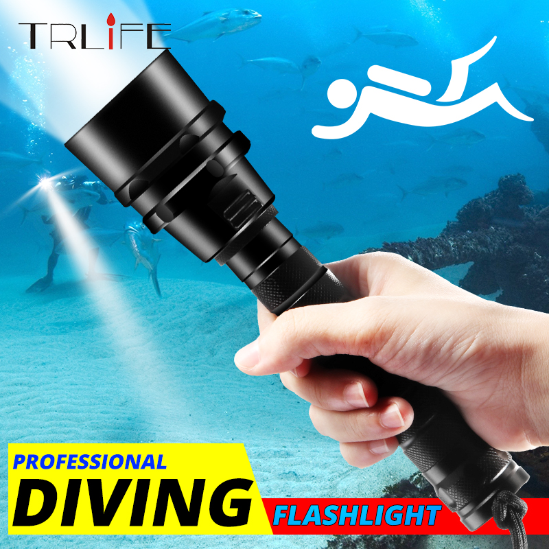 TRLIFE LED Diving Flashlight Torch L2/T6 Dive Torch 200M Underwater Tactical LED Flashlights Scuba Lantern Use 18650 Battery