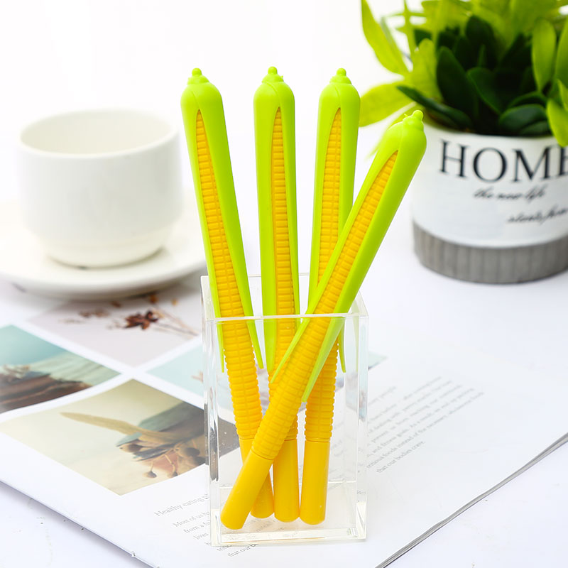 Korean Cute Kawaii Corn Maize Plant Gel Pens Blue Ink Cartoon Cool Funny Ball Point Stationery Store Stationary Vegetable Thing