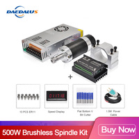 Brushless Spindle 500W CNC Spindle Motor ER11 55MM Clamp Stepper Motor Driver Switching Power Supply ER11 Collet for Milling