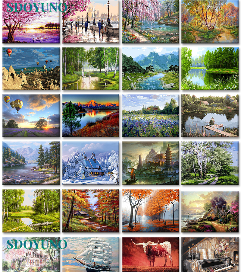 SDOYUNO 40x50cm Frameless Painting By Numbers Nature Landscape On Canvas Pictures By Numbers Home Decoration DIY For Unique Gift
