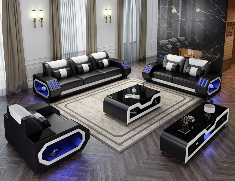 Custom made modern design LED lights Music player living room sofa set leather sofa Innrech Market.com