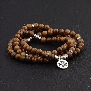 Image 5 - Pulseira de contas de yoga 108, unissex, de madeira de sândalo, budista, oração, contas de lotus, colar, rosário