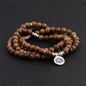 Image 5 - Unisex Women Men Yoga 108 Beads Bracelet Natural Sandalwood Buddhist Buddha Wood Prayer Beaded Lotus OM Bracelet Necklace Rosary