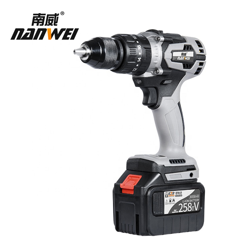 Tools : 21V cordless hammer drill Industrial grade brushless impact drill 1 2inch Metal Auto-locking Chuck 2000AH Battery