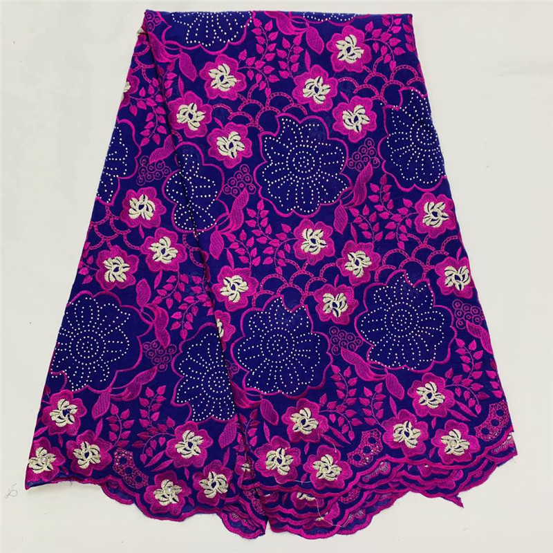 Swiss lace fabric 2020 heavy beaded embroidery African lace fabrics 100% cotton Swiss voile lace in Switzerland With stones K035