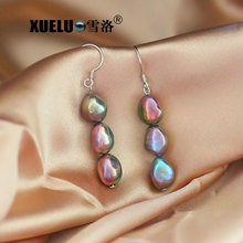 XUELUO Hot Selling ! Fashion High Quality Metal Color Shiny Luster Natural Cultured Freshwater Baroque Drop Pearl Earrings