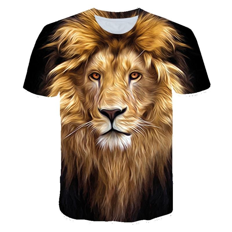2021 3D Printed T-Shirt Lion Fun Tee Kids Boys Girls Clothes Hip Hop Cool Summer Tops Short Sleeve T-Shirts 4T-14T