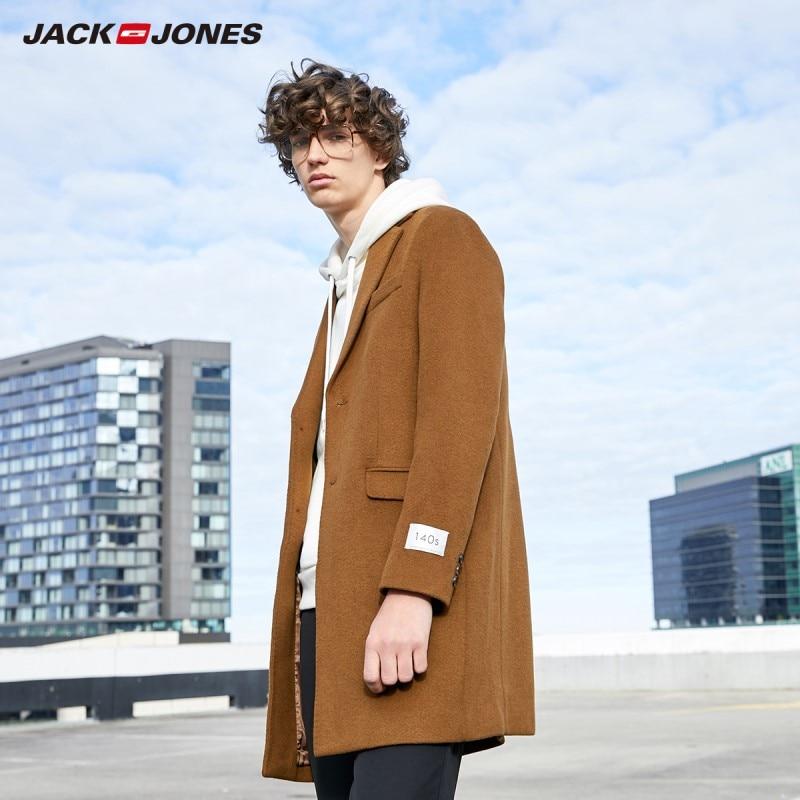 JackJones Men's Mid-length Style Sheep Wool Suit Overcoat Menswear| 219327506