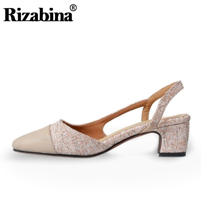 RIZABINA Real Leather Sandals Women Mixed Color Square Toe Thick Heels Shoes Comfort Soft High Quality Shoes Women Size 34-39
