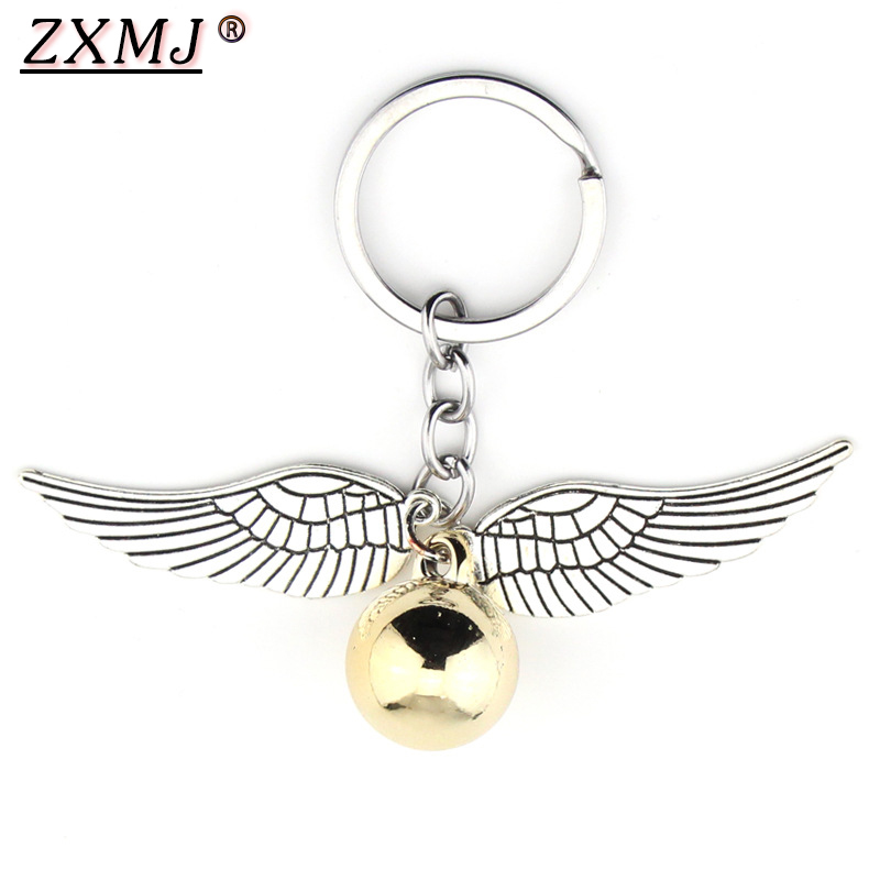 ZXMJ Harried Golden Snitch Pendent Keychain Potters Bohemia Vintage Style Angel Wing Charm Keychain For Men Women Keyring Hot