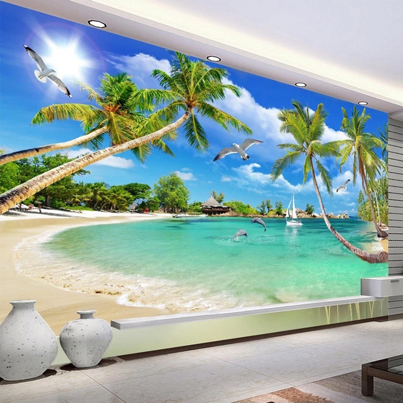 Seascape Custom Wall Paper Murals Beach Coconut Tree 3D Photo Wallpaper For Living Room Sofa TV Background Mural Papel De Parede
