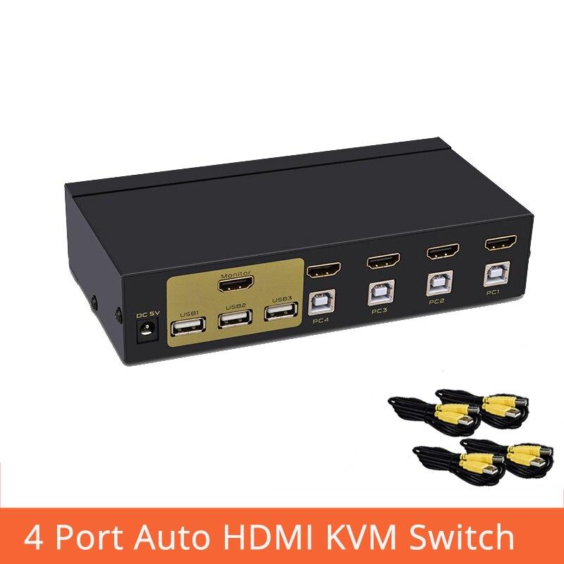 Commutateur hdmi 4 ports commutateur kvm sélectionne automatique quatre en un sur plusieurs PC pour partager le commutateur de moniteur de clavier de souris USB2.0