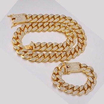 Hip-hop 1 lot de 20 mm strass Miami chaîne cubaine bling rap bracelet bracelet collier bijoux pour hommes
