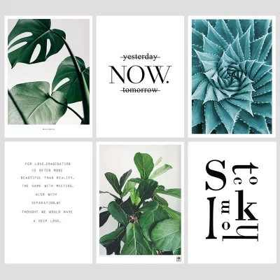 Nordic Monstera Deliciosa Green Plant Posters and Prints Wall Art Canvas Pictures for Living Room Cuadros Decoracion Dormitorio