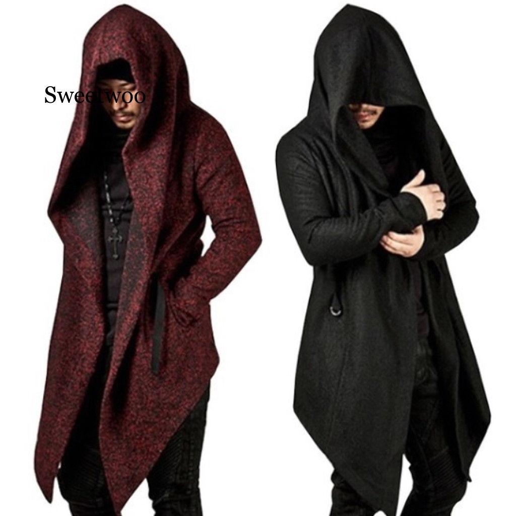 Купить мужское длинное пальто с капюшоном и асимметричным подолом повседневный