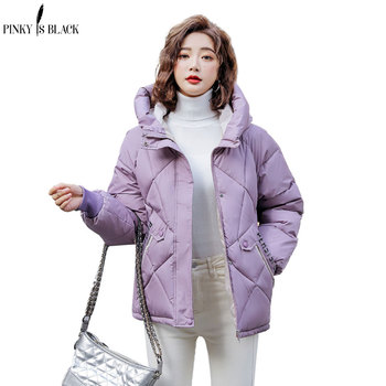 PinkyIsBlack 2020 New Winter Jacket Women Parkas Hooded Thick Down Cotton Padded Female Short Coat Outwear