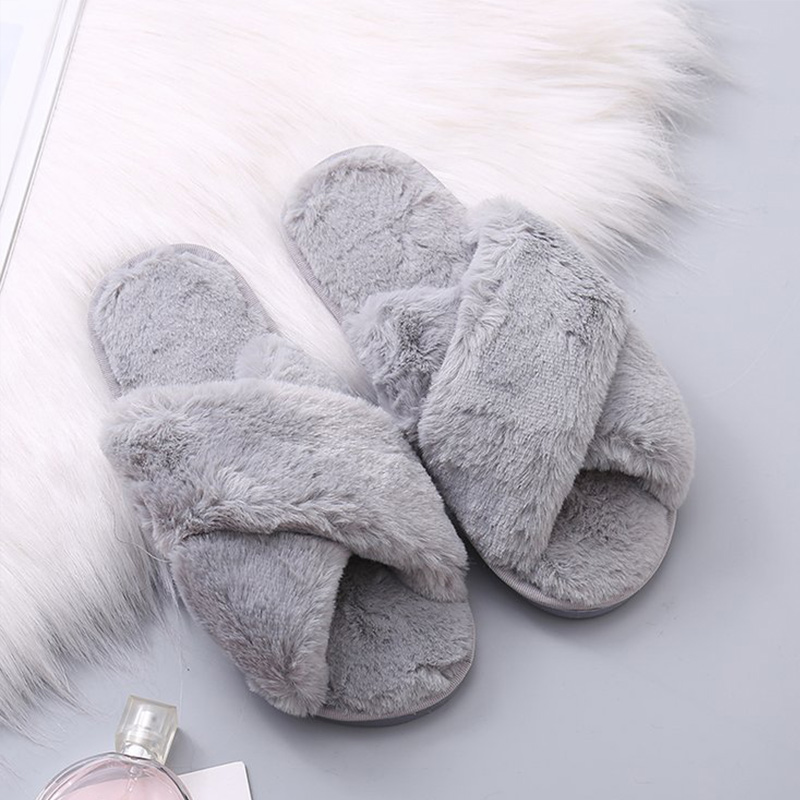 Winter Women Warm Faux Fur Home Slippers Ladies Cross Soft Plush Furry Female Open Toe Women's House Shoes Fashion Woman Slides