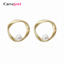 Carvejewl pearl stud earrings twisted irregular round circle Korean for women jewelry new fashion romantic wholesale