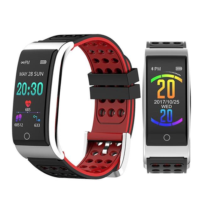 E08 سوار ذكي ECG PPG قياس ضغط الدم جهاز تعقب للياقة البدنية سوار ساعة مقاوم للماء مراقب معدل ضربات القلب