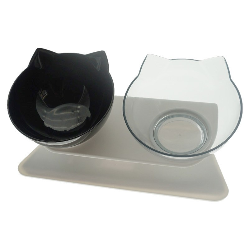 Mixed Color Double-Non-Slip Double Cat Bowl Dog Bowl With Stand Pet Feeding Cat