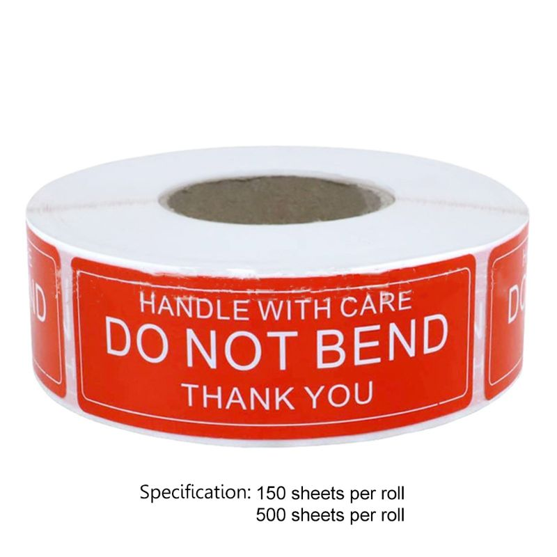 Red Warning Sticker Fragile Handle With Care DO NOT BEND 2.5x7.5cm Transport Packaging Remind Labels 150/500pcs/roll