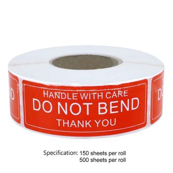 Red Warning Sticker Fragile Handle With Care DO NOT BEND 2.5x7.5cm Transport Packaging Remind Labels 150/500pcs/roll - discount item  17% OFF Stationery Sticker