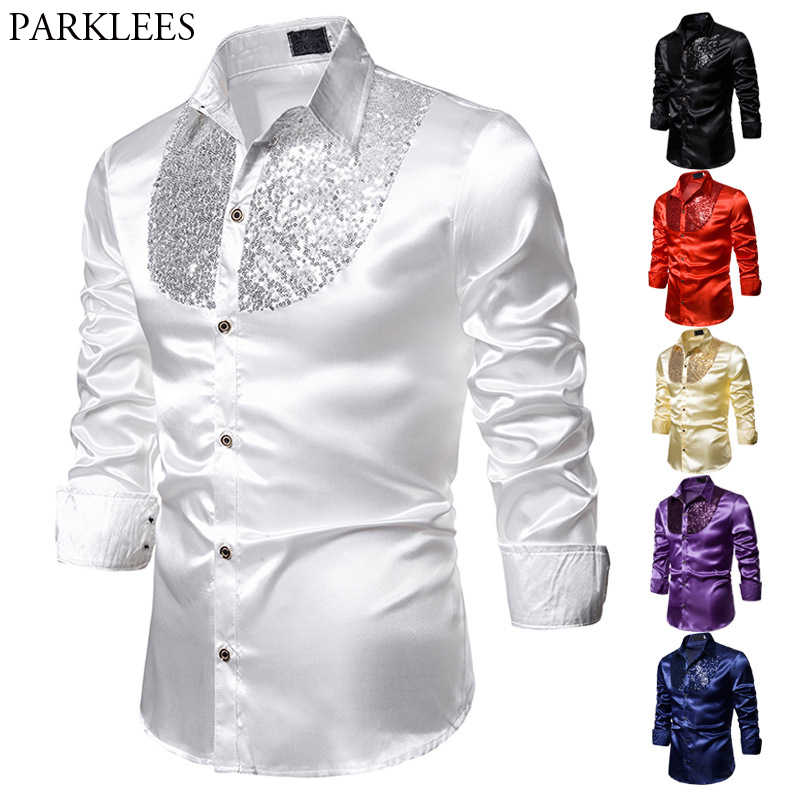 Men's Sequins Embroidered Western Shirts Slim Fit Long Fashion Silk Shirt Men Nightclub Disco Dance Party Stage Prom Custume 2XL
