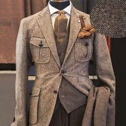 2020 neueste Tweed Bräutigam Smoking Hochzeit Kleid Prom Kleider Abendkleid Business Anzug Party Anzug 3 Stück (Jacke + hosen + Weste)