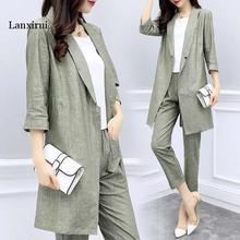 plus size Women Casual Linen suit Women Formal Suits Sets Lo