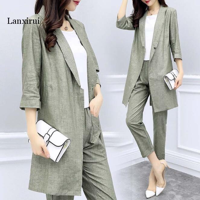 plus size Women Casual Linen suit Women Formal Sui