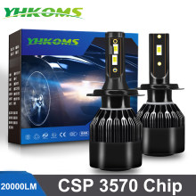 YHKOMS H4 LED H7 LED 20000LM H1 H8 H9 H11 9005 HB3 9006 HB4 9012 Car LED Light Bulb Auto Fog Lamp Automobiles Headlamp 6000K