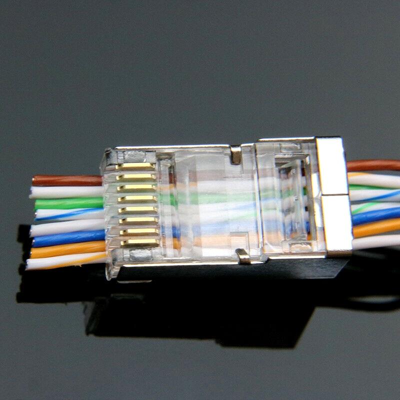 20PC EZ Rj45 Connector Cat6 Network Connector 8p8c Shielded Modular Rj45 Plugs