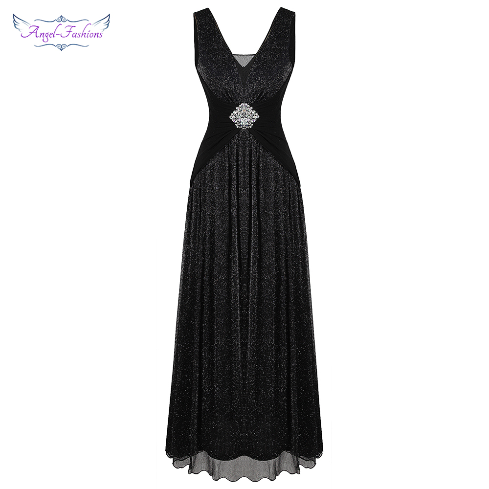 Angel-fashions Women's V Neck Pleated Beading Evening Dress Long A Line Formal Party Gown Black 486