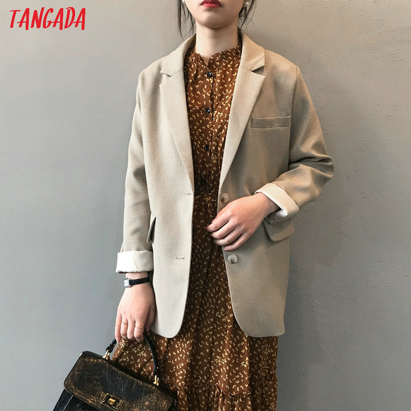Tangada Women Vintage Plaid Pattern Blazer Female Long Sleeve Elegant Jacket Ladies Work Wear Blazer Formal Suits ASF05
