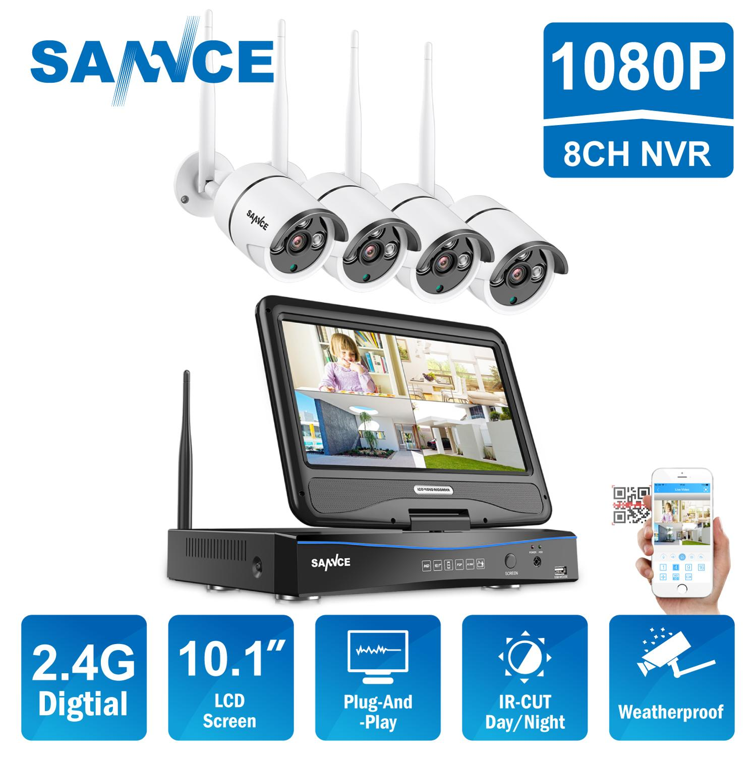 Telecamera IP SANNCE WiFi a 8 canali 1080P NVR CCTV Wireless Camera System 8CH wifi NVR kit wifi NVR kit CCTV kit 1TB HDD