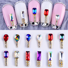 5pcs Special alloy AB Rhinestones For Nails 3d Flatback Glass  Non Hotfix Crystal Charm Nail Art Glitter Decorations
