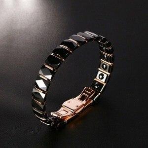 Image 4 - Hommes acier inoxydable 2 tons céramique thérapie Bracelet pour homme femme unisexe à la mode bijoux noir Rose or couleur 19cm