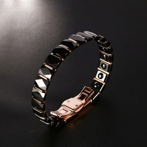 Image 4 - Men Stainless Steel 2 Tone Ceramic Therapy Bracelet for Male Female Unisex Trendy Jewelry Black Rose Gold color 19cm