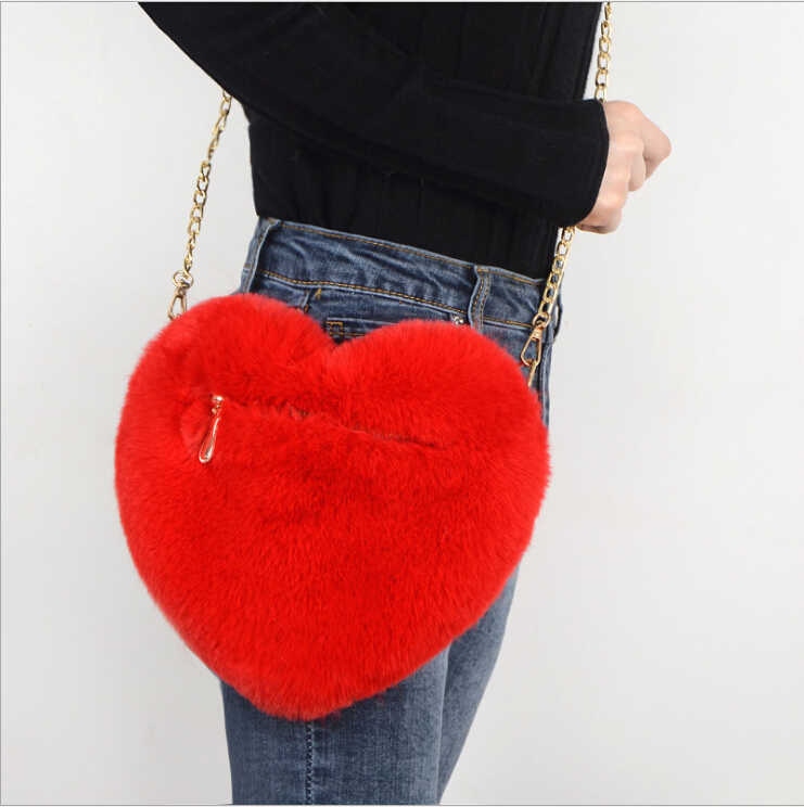 2019 Women Fashion Heart Shaped Bag Female Chain Messenger Bag Plush Love Shoulder Crossbody Bag Valentine's Day Gift