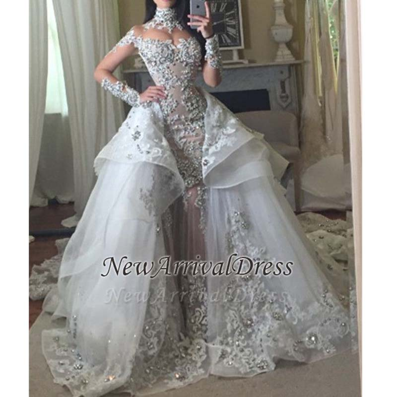 Hot Sale Beaded Appliques Wedding Dress Long-Sleeves Glamorous High Neck Mermaid Wedding Gown With Detachable Tulle Train