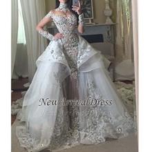 Venda quente Frisado Apliques de Casamento Vestido Longo Mangas Glamorous Alta Neck Sereia Do Vestido de Casamento com Destacável Tulle Train