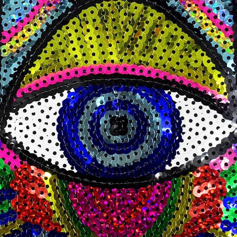 Nieuwe Regenboog Bloem Ogen Patches voor Kleding Trui Ijzer op Oogbol Lovertjes Patch DIY Accessoires Pailletten Applicaties Decoratie