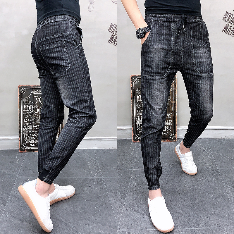 Jeans Male Stripe Pants Casual Harem Pant Stripe Slim Fit Men Joggers Streetwear Pantalones Hombre Pants Men Brand Hot Sale