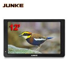 Портативный цифровой и аналоговый Led телевизор JUNKE, поддержка tf карты, USB аудио и видеоплеер, автомобильный Телевизор 12 дюймов, DVB T и DVB T2