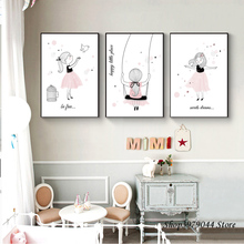 Cartoon Posters And Prints Art Nordic Poster Pink Cute Girl Wall Art Canvas Painting Baby Room Decor Wall Pictures Unframed цена и фото
