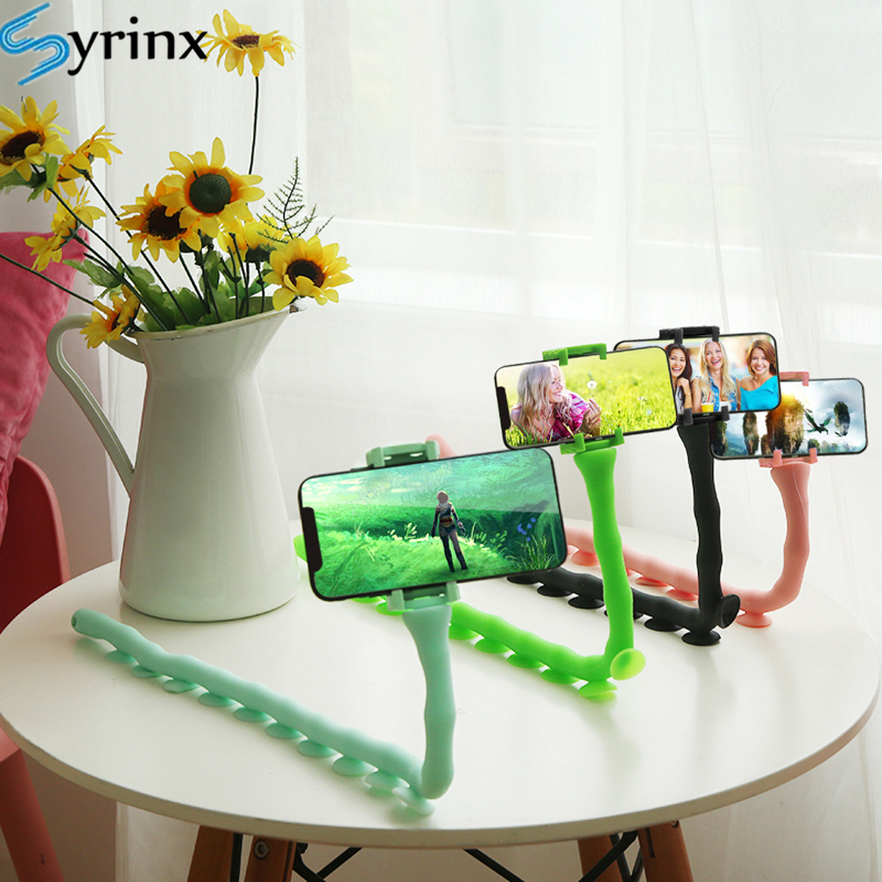 Home Wall Live Support New Cute Caterpillar Lazy Bracket Mobile Phone Desktop Bicycle Car Holder Worm Flexible Suction Cup Stand