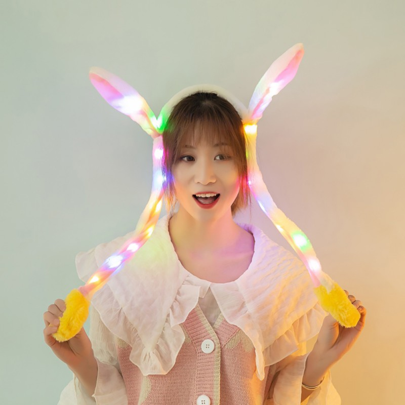 LED Light Rabbit Ear Hat Headband Cute Cartoon Moving Plush Toy Cap Funny Hair Party Accessories 2020 New