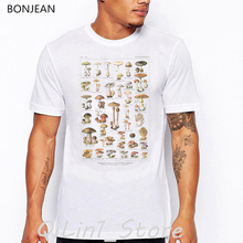 Mushroom illustration print t-shirt men oversized tshirt camisetas masculina summer fashion funny t shirts homme streetwear