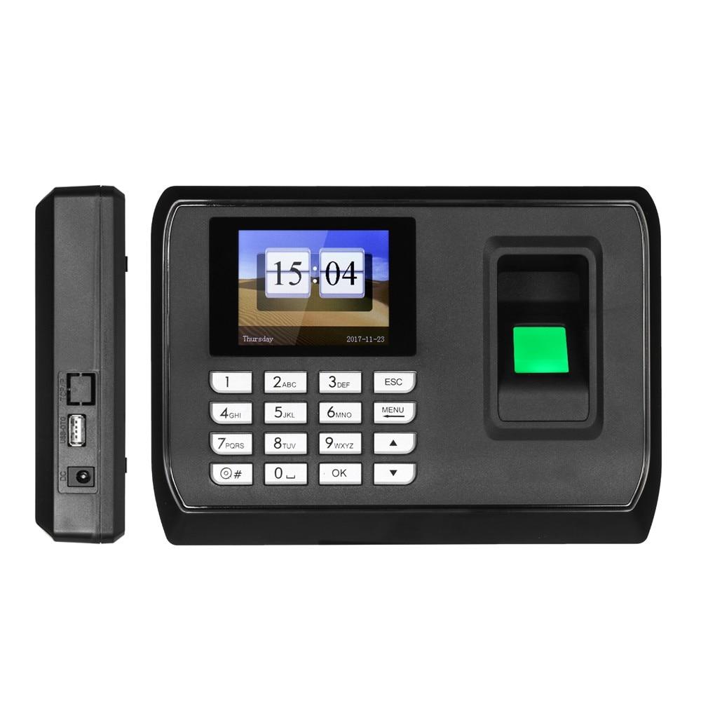 Biometric Fingerprint Password Attendance Machine Checking-in Recdor LCD Employee Time Clock