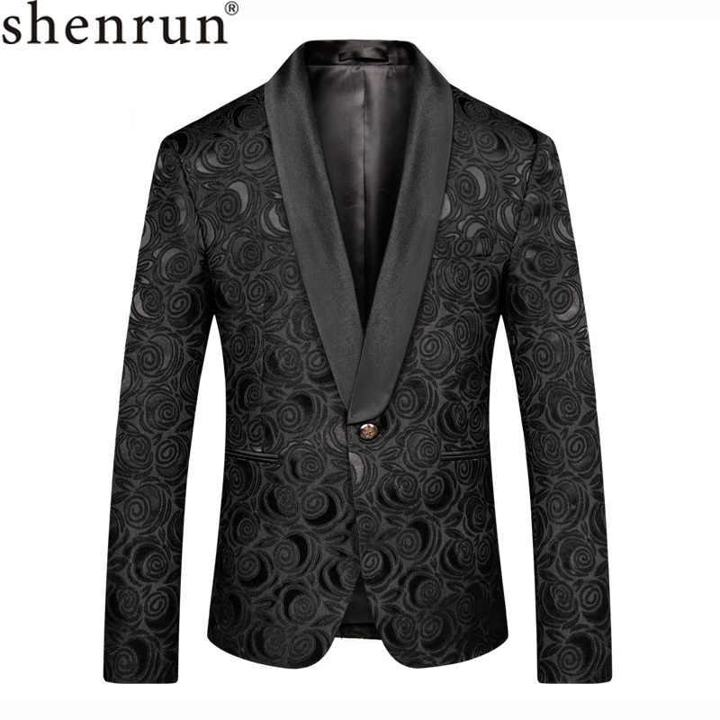 Shenrun hombres negro Blazer Slim Fit Casual traje chaqueta boda chal solapa Tuxdeo macho chaquetas hombre Blazer fiesta graduación etapa traje